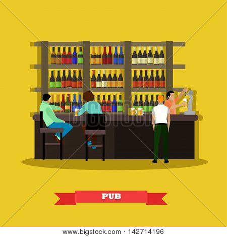 Brewery and beer restaurant concept vector illustration. Visitors drink beer in a bar poster.