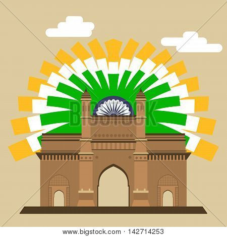 Mumbai Gateway. Gateway. Indian landmark with abstract flag EPS8