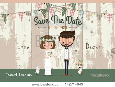 Couple rustic wedding invitation card and save the date with wood background
