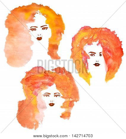 Three hand drawn fashion women with watercolor stylized foxy hair