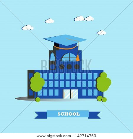 City school building vector illustration in flat style. Modern city design.