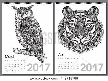 Calendar 2017. Beautiful ornate hand drawn animals for every month. Vector illustration. Two months lists march, april with owl, tiger.