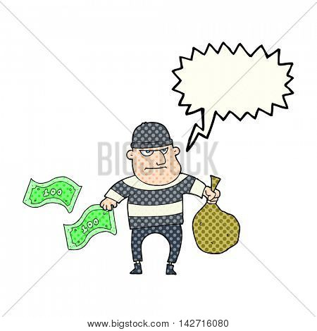 freehand drawn comic book speech bubble cartoon bank robber