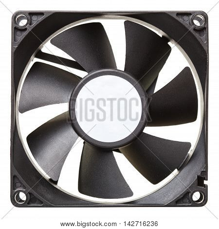 Black cooler computer fan isolated on white background