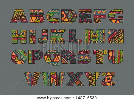 Vector set of ornate capital letters with abstract ethnic African patterns. Fancy alphabet in tribal culture style. Colorful beautiful font.
