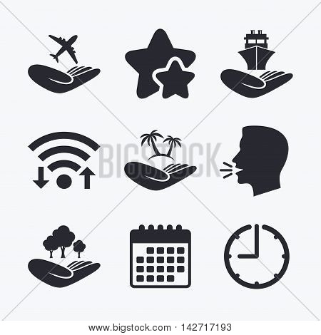 Helping hands icons. Travel flight or shipping insurance symbol. Palm tree sign. Save nature forest. Wifi internet, favorite stars, calendar and clock. Talking head. Vector