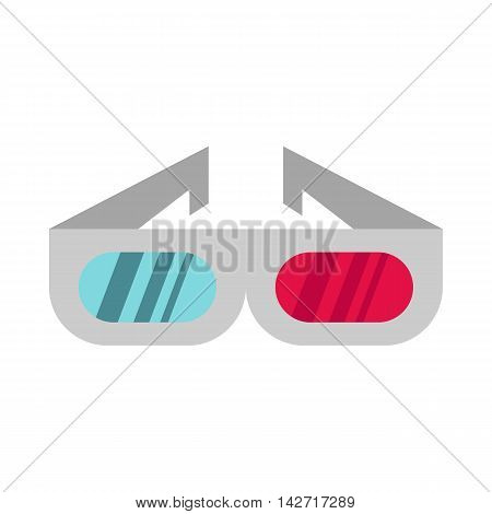 3D cinema glasses icon in flat style on a white background