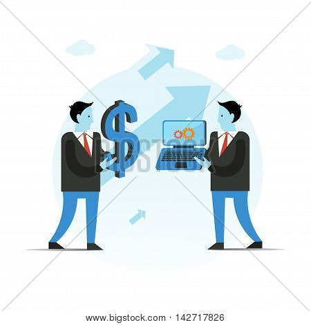 Business vector illustration. Businessman holding big dollar sign and laptop. Pay for work concept. Idea trading for money.