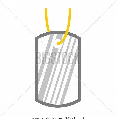 Identification army badge icon in flat style on a white background