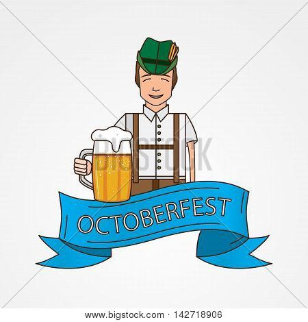 The symbol of the Oktoberfest in Munich, Germany. Linear icon with cute Bavarian man dressed in traditional costume .