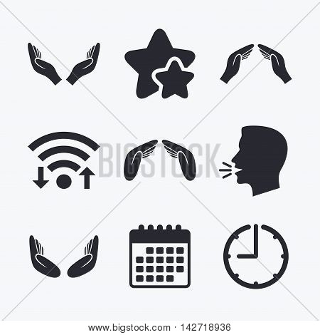 Hands icons. Insurance protection signs. Human helping donation hands. Prayer meditation hands sybmols. Wifi internet, favorite stars, calendar and clock. Talking head. Vector