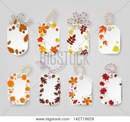 Autumn seasonal sale label. Autumn tags decorated yellow, broun and red leaves. Vector illustration EPS 10