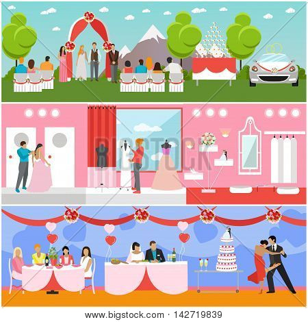 Wedding ceremony design vector banners. Wedding party interior. Bride and groom celebrate their marriage.