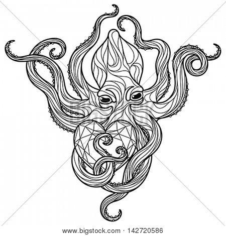 Zentangle octopus coloring page. Editable vector monochrome illustration.