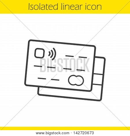 Credit cards linear icon. Thin line illustration. Deposit card wireless payment contour symbol. Vector isolated outline drawing
