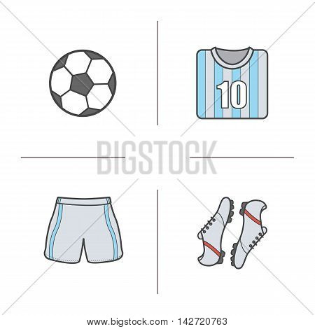 Soccer color icons set. Football player's equipment. Shirt, boots, shorts and ball. Vector isolated illustrations