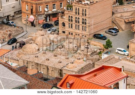 Tbilisi Georgia - May 19 2016: Scenic View Of Tbilisi Old Town Georgia. Historic District. Abanotubani - Bath District - Is The Ancient District Of Tbilisi Georgia Known For Its Sulfuric Baths.