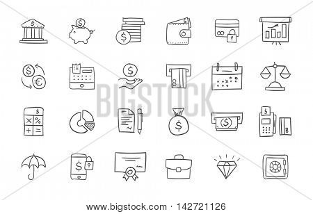 Set of finance and banking icons. Freehand drawing style. Simple linear elements