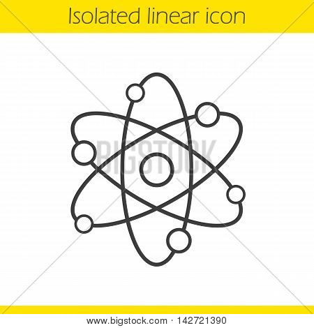 Atom structure linear icon. Physics thin line illustration. Atomic model. Proton, electron, neutron. Contour symbol. Vector isolated outline drawing