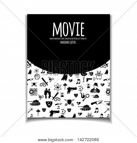 Cinema vector template set. Movie genre theme: action romance comedy drama detective horror fantasy. Black and white illustration for posters greeting cards flyers and banners web designs.