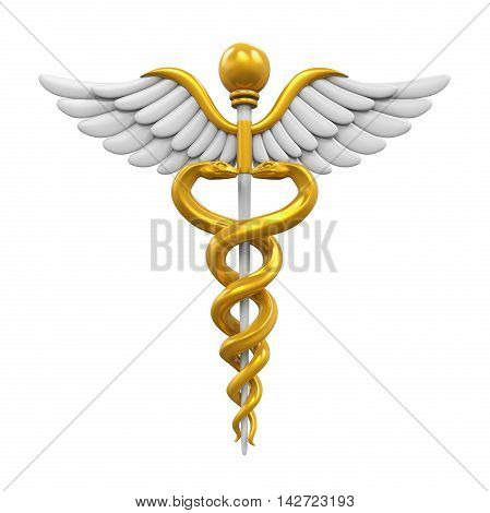Caduceus Medical Symbol isolated on white background. 3D render