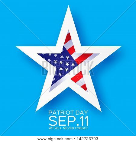 Origami Patriot Day star on blue background. We will never forget. Paper cut Poster Template. Abstract american flag background. September 11 2001. Vector illustration