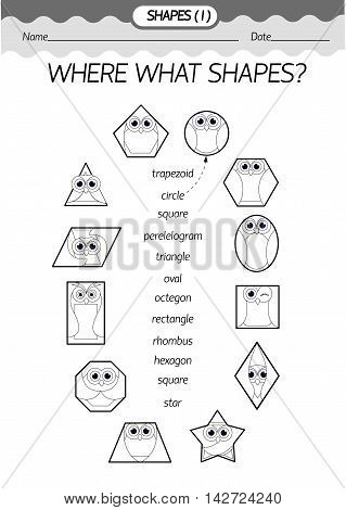 Training material- coloring book : where what shapes? Geometric shapes in the form of an owl . Black and white vector illustration.