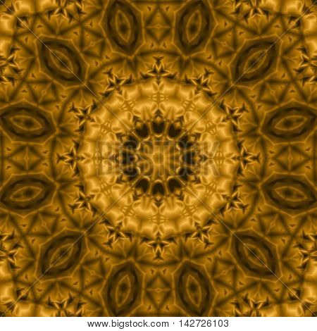 Kaleidoscopic design abstract ornament seamless texture wavy golden psychedelic pattern background