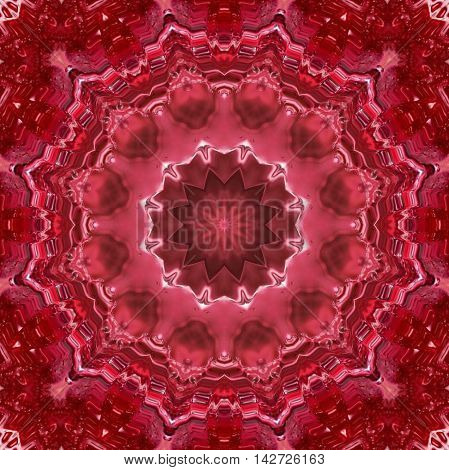 Kaleidoscopic design abstract ornament seamless texture wavy red psychedelic pattern background