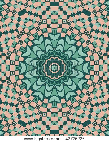 Mandala with abstract geometric ornament seamless pattern in green and beige colors.