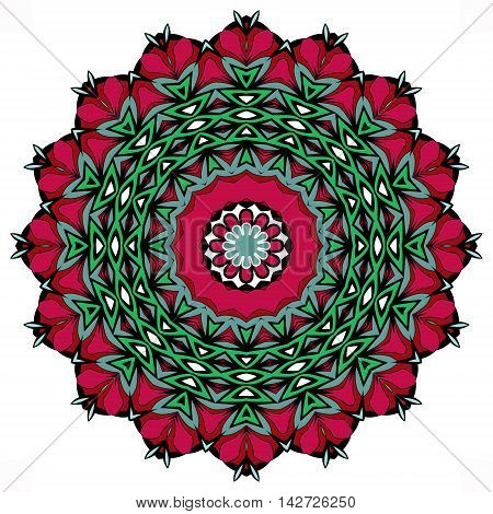 Ethnic mandala with red, green and blue colorful geometric elements isolated on white.