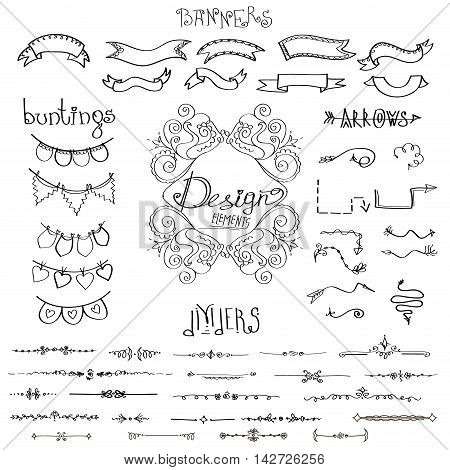 hand drawn design elements: flowersarrows dividers banners ribbons vector on white