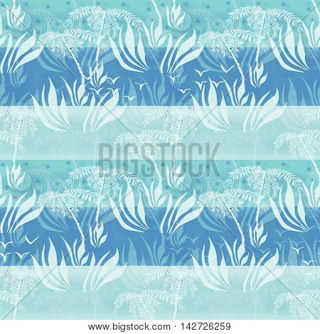 Seamless floral pattern with plants silhouettes of palms and plants background