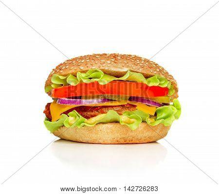 Hamburger isolated on awhite background. Delicious burger.