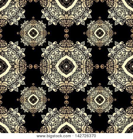 Vintage seamless background with lacy ornament. Golden pattern wallpaper web background surface textures classic fabric
