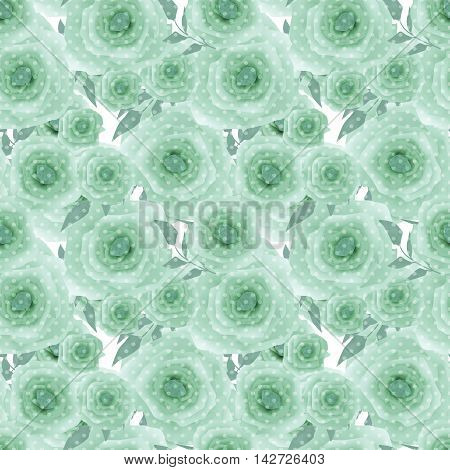 Seamless romantic blurred green roses background pattern texture print