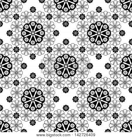 Seamless black lace pattern print on white background