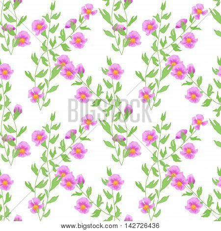 Seamless pink flowers pattern on white background