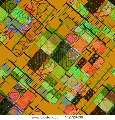 Seamless patchwork design geometrical pattern with elements print