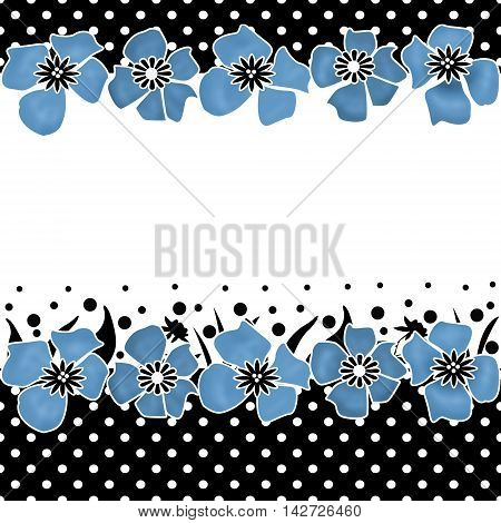 Floral seamless pattern with cute blue flowers on black and white polka dots border framing a white background with copy space