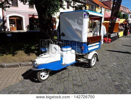 KEZMAROK SLOVAKIA - JULY 08 2016: Old czech motor-cycle on the street in Kezmarok town High Tatras Slovakia.
