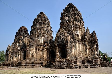 Lopburi Thailand - December 29 2013: Wild monkeys scamper and climb over the ruins of Khmer style Wat Phra Prang Sam Yot