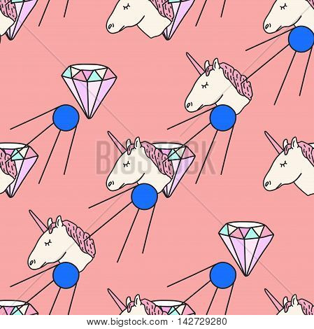 Fun patch summer seamless pattern. Vector illustration.Hand drawn unicorn, daimond, sputnik