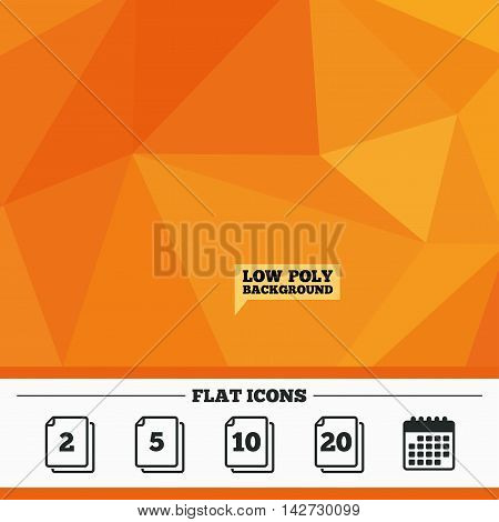 Triangular low poly orange background. In pack sheets icons. Quantity per package symbols. 2, 5, 10 and 20 paper units in the pack signs. Calendar flat icon. Vector