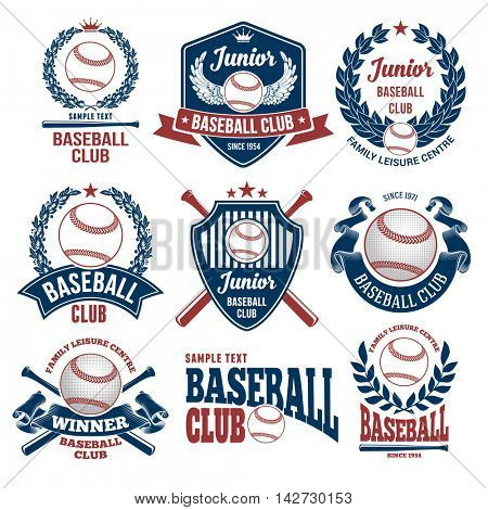 Set of Emblems, Logos and Labels on Baseball Theme and for Baseball Club. Colored Vector Illustration. Isolated on White Background.