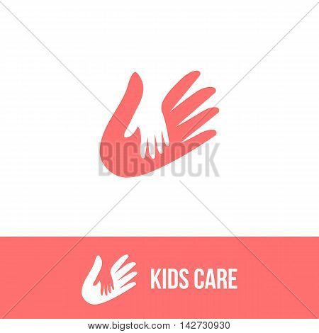 Isolated child and adult hands vector logo. Negative space logotype. Family illustration. Kids care icon. Orphanage symbol. Children adoption sign. Charity campaign emblem. poster