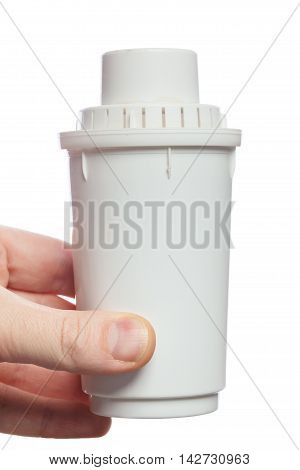 Water Filter In Human Hands Isolated On White Background
