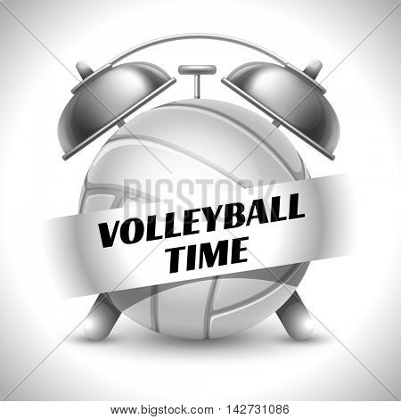 Concept on Sport Volleyball Theme. Time to Play Sports. Time to Watch Volleyball Tournament. Time To Play Volleyball. Vector Illustration. Isolated On White background.