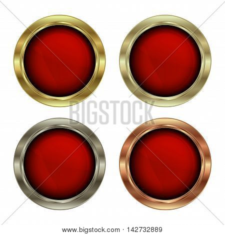 vector set of blank round medals of gold platinum silver and bronze with red glossy glass insert
