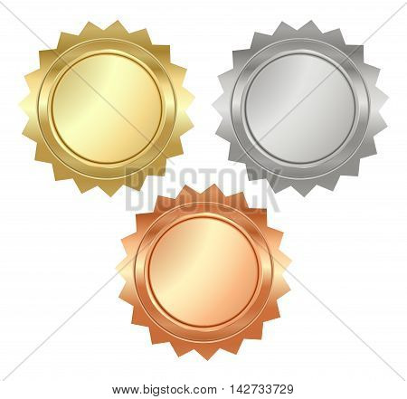 vector blank glossy serrated medals of gold silver and bronze that can be used on diplomas certificates